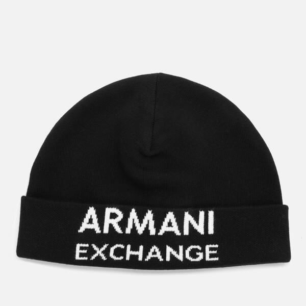 armani exchange men's logo beanie - black