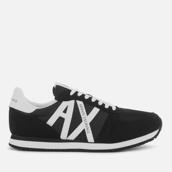 armani exchange men's retro running style trainers - black/white - uk 7