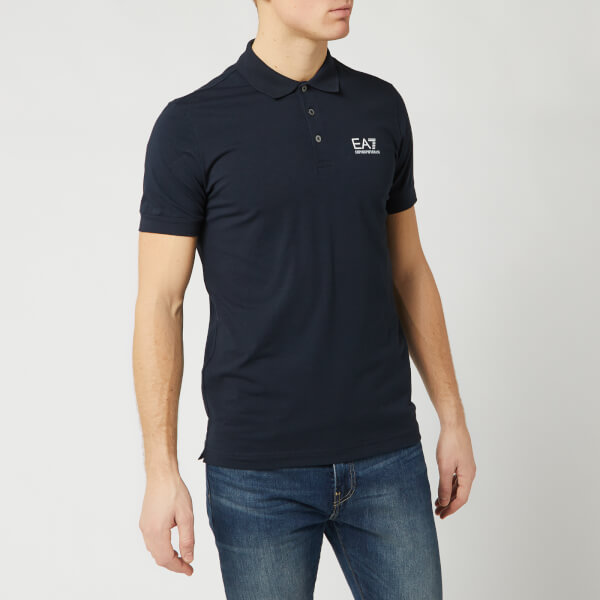 emporio armani ea7 men's short sleeve small logo polo shirt - night blue - s