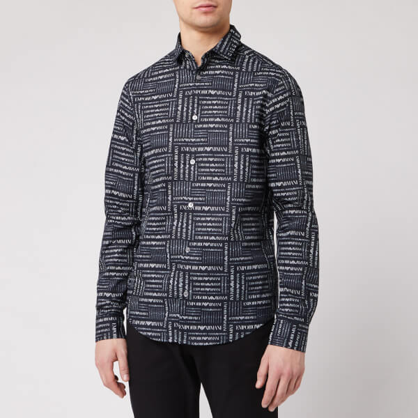 emporio armani men's all over print shirt - blue - s