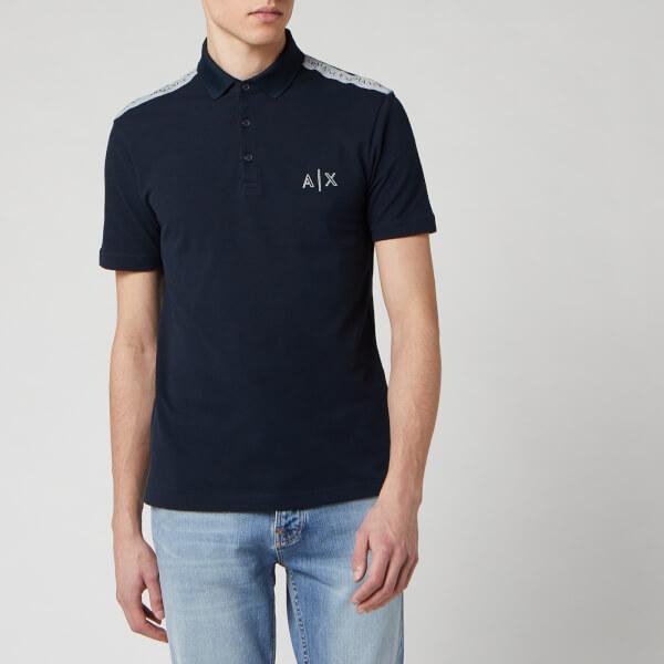 armani exchange men's ax logo polo shirt - navy - s