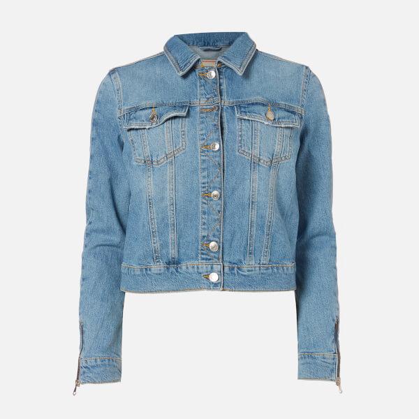 guess women's adelya zip denim jacket - dolby - xs
