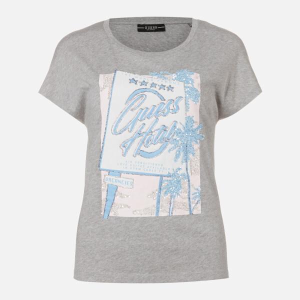 guess women's short sleeve rn glamour t-shirt - stone grey heather - xs