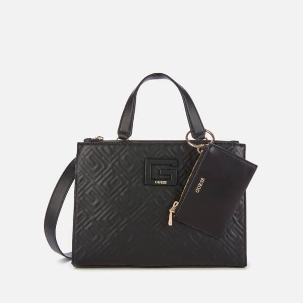 guess women's janay status handbag - black