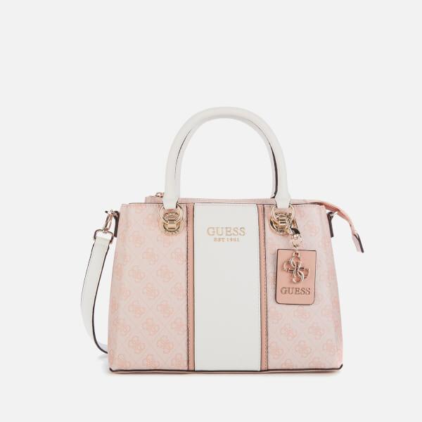 guess women's cathleen 3 compartment satchel - blush