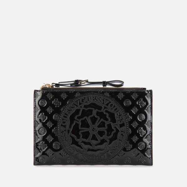 guess women's patent peony logo pochette - black