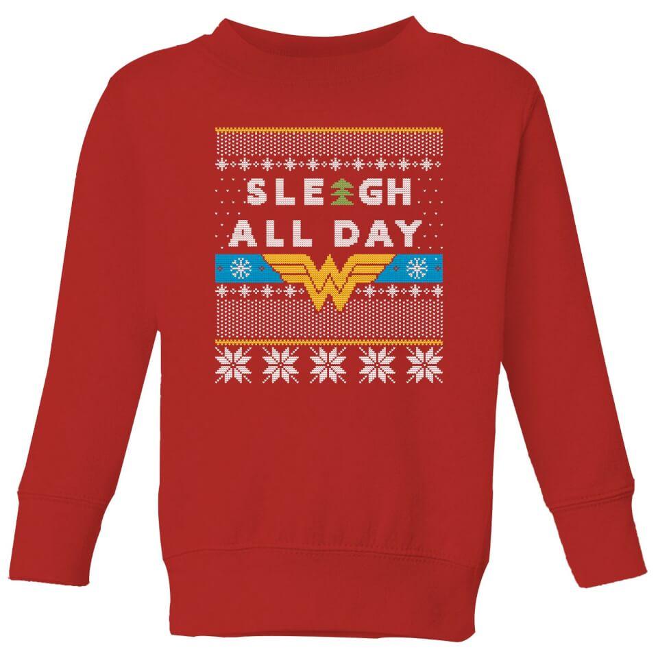 Nützlichfanartikel - Wonder Woman 'Sleigh All Day Kids' Christmas Sweatshirt Red 11 12 Jahre - Onlineshop Sowas Will Ich Auch