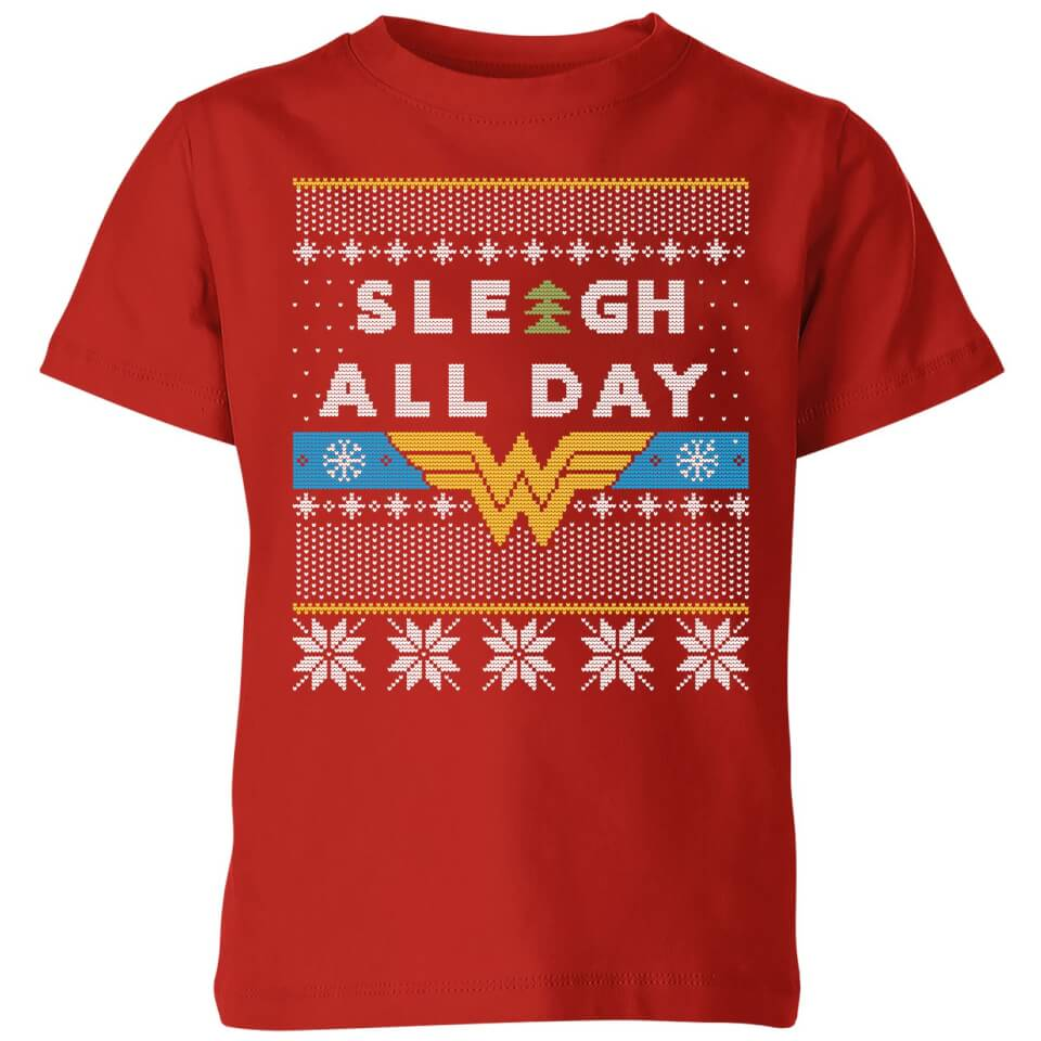 Wonder Woman 'Sleigh All Day Kids' Christmas T Shirt Red 11 12 Jahre Rot