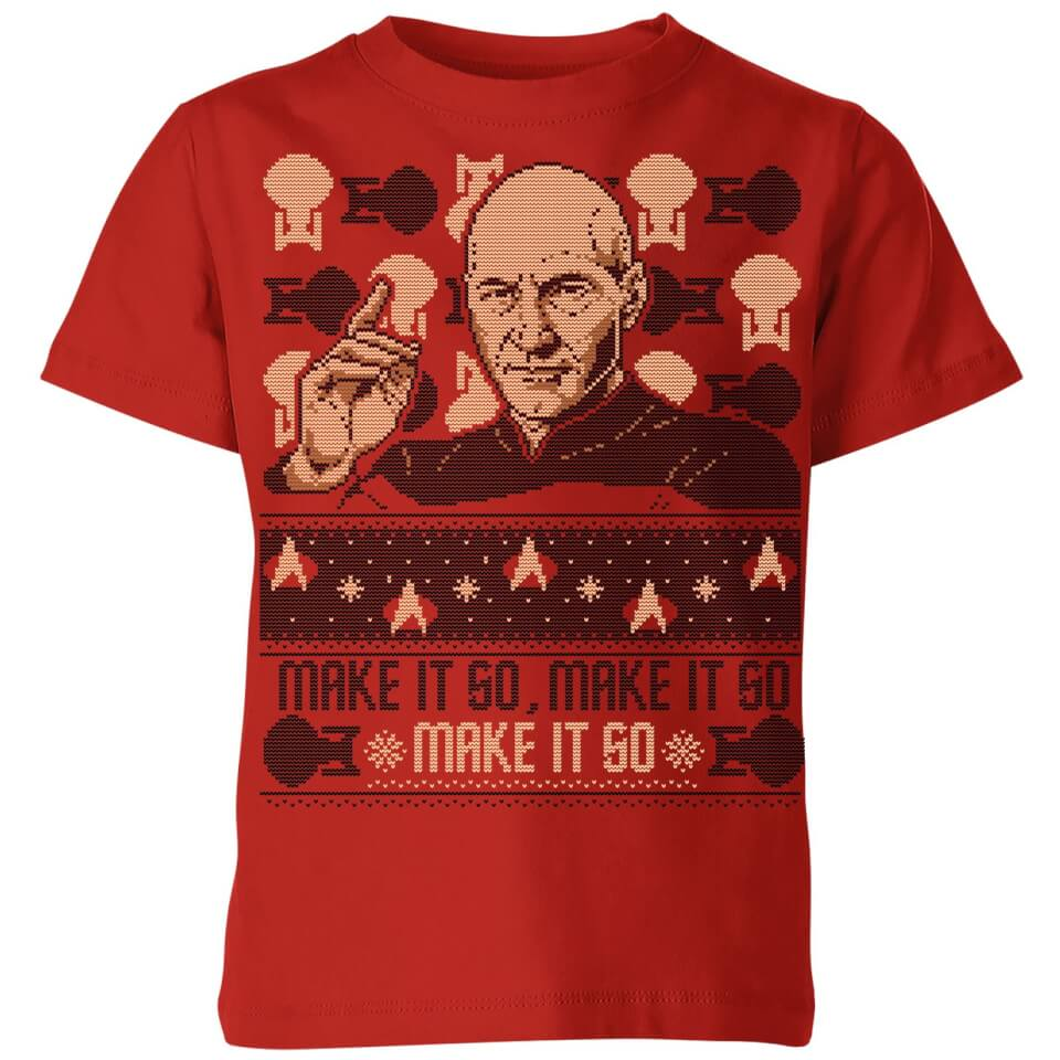 Star Trek The Next Generation Make It So Kids' Christmas T Shirt Red 11 12 Jahre Rot