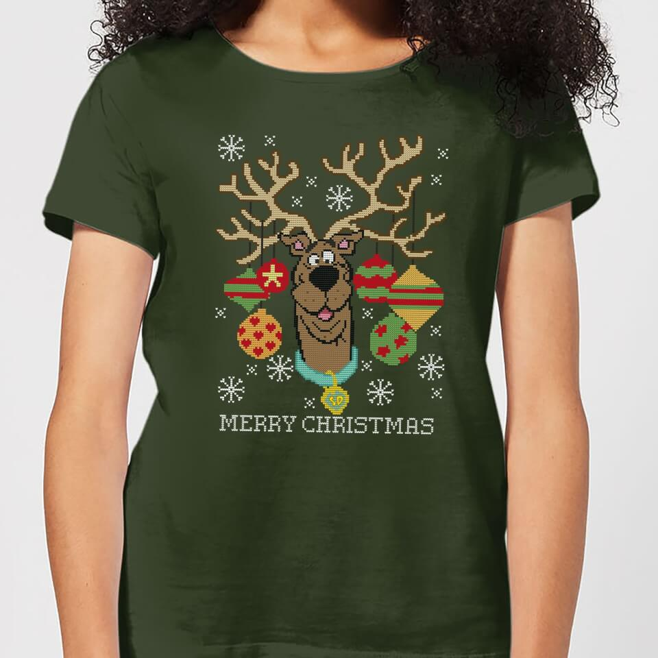 Scooby Doo Women's Christmas T Shirt Forest Green XXL Forest Green