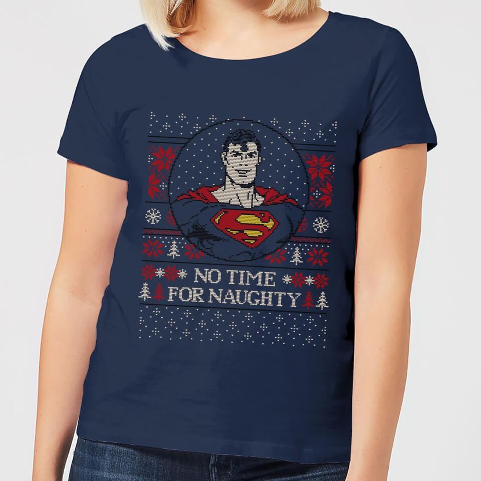 Superman May Your Holidays Be Super Women's Christmas T Shirt Navy XXL Marineblau