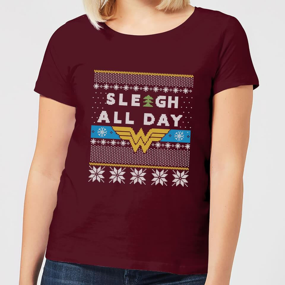 Wonder Woman 'Sleigh All Day Women's Christmas T Shirt Burgundy XXL Burgunderrot