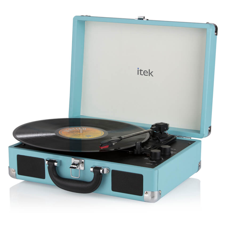 Ausgefallengadgets - iTek Portable Turntable with Built in Speakers Blue - Onlineshop Sowas Will Ich Auch