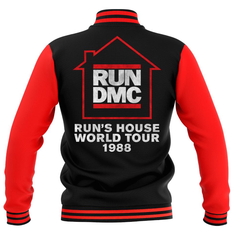 Run's House World Tour 1988 Unisex Varsity Jacke - Rot / Schwarz - S | Bekleidung > Jacken > Sonstige Jacken | RUN DMC