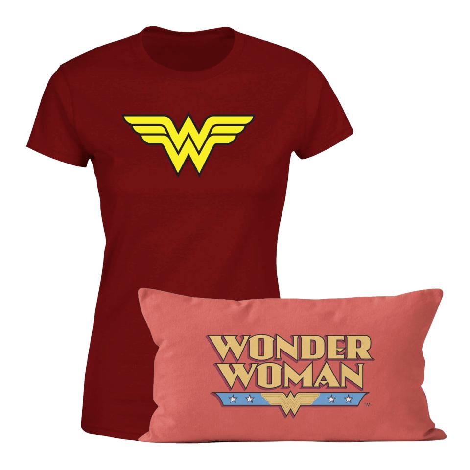 Nützlichfanartikel - Wonder Woman T Shirt And Cushion Bundle Kids' - Onlineshop Sowas Will Ich Auch