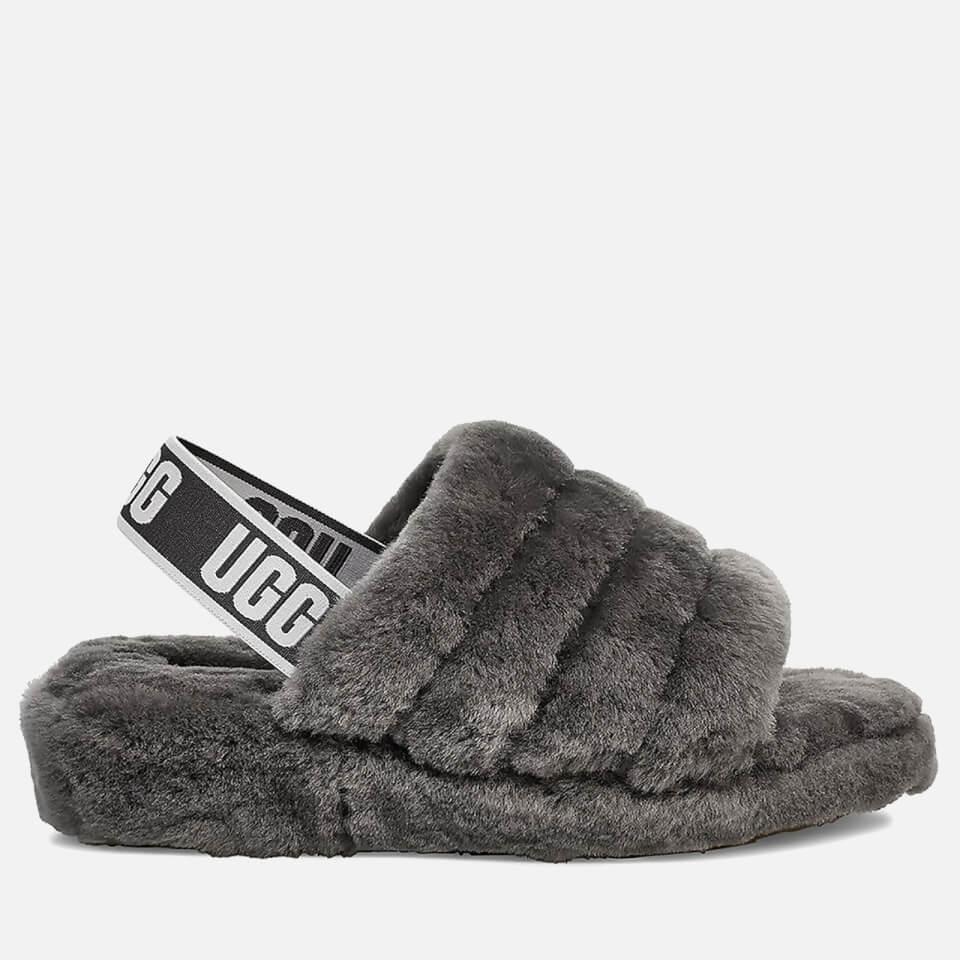 UGG Fluff Yeah Slide Slipper - Charcoal , Charcoal, Size 4, Women|4