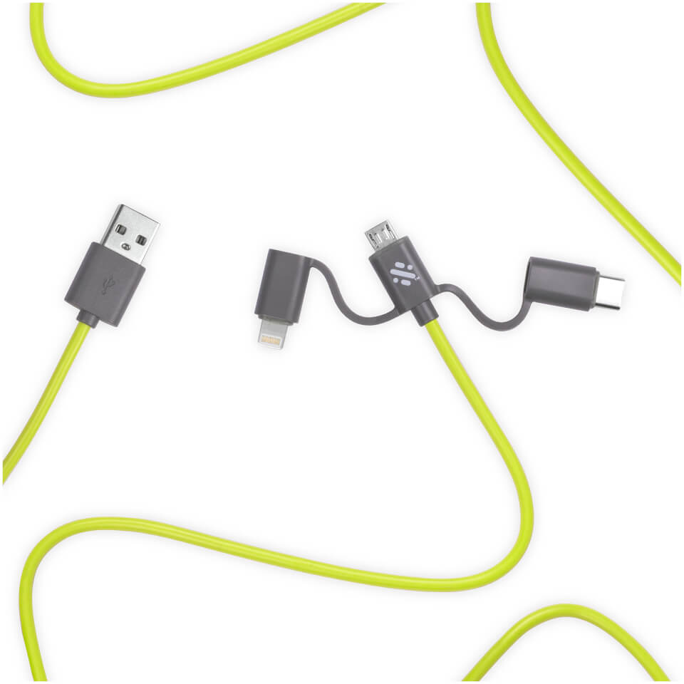 Ausgefallengadgets - Thumbs Up! Link 3 in 1 Cable 1m Green - Onlineshop Sowas Will Ich Auch