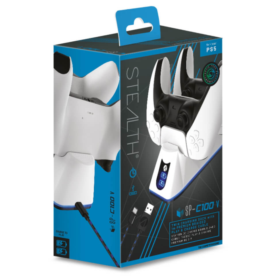 Ausgefallengadgets - PS5 Twin USB Charging Dock Play Charge Cable White - Onlineshop Sowas Will Ich Auch