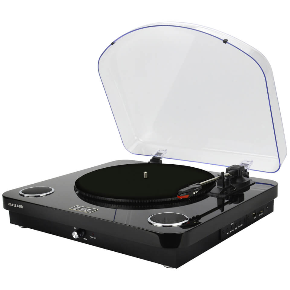 Ausgefallengadgets - AIWA GBTUR 120BK Music Centre Record Player with Built in Speakers, FM and Wireless Black - Onlineshop Sowas Will Ich Auch
