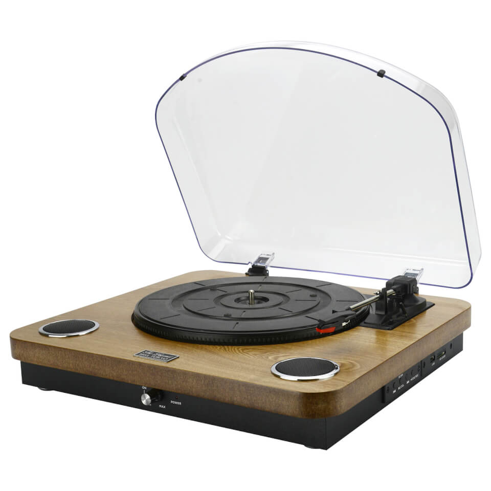 Ausgefallengadgets - AIWA GBTUR 120WD Music Centre Record Player with Built in Speakers, FM and Wireless Wood - Onlineshop Sowas Will Ich Auch