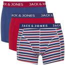 Jack & Jones Men's Solid Contrast 3-Pack Boxers - Red/Navy