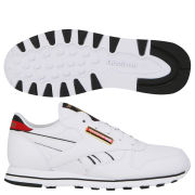 Reebok Classic Womens Leather Jacquard Trainer - White/Black - 5 - White/Black