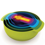 Joseph Joseph Nest Plus 9 Piece Mixing Bowls, Measures, Seive And Colander Stacking Set