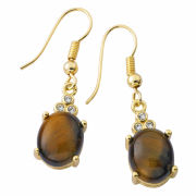 Gold Plated Genuine Oval Tiger Eye Earrings