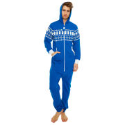 Doctor Who Tardis Fairisle Print Cotton Onesie  Blue  One Size