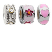 Amadora Silver Flower and Beads Pack of Three Charms