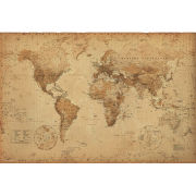 World Map Antique Style  Maxi Poster  61 x 91.5cm