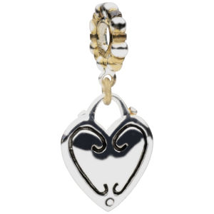 Amadora Two Toned Beaded Stone And Heart Charm