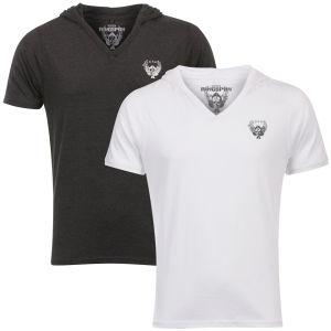Ringspun Men's 2-Pack Hex Hooded V-Neck T-Shirt - White/Charcoal