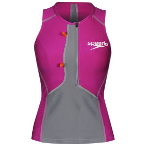 Speedo Women's Triathlon Singlet - Dapple Grey/Berry