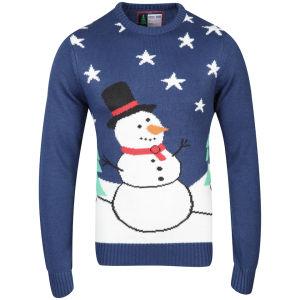 Christmas Branding Snowman Knitted Jumper - Estate Blue