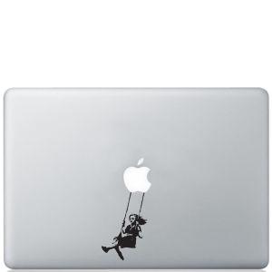 Banksy Girl Swinging Macbook Decal