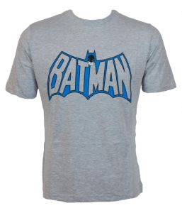 T-Shirt DC Comics Batman Head and Logo - Gris