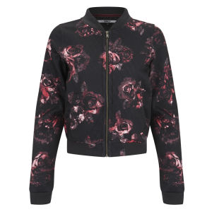 Only Women's Rose Print Bomber Jacket - Black/Pink