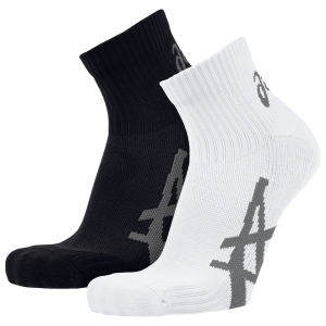 Asics Unisex 2 Pair Pack Pulse Socks - Black/White