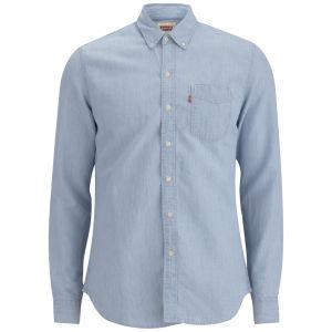 Levi's Men's Long Sleeve Slim Fit Classic Bleached Denim Shirt - Light indigo