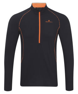 RonHill Men's Base Thermal 200 Half Zip T-Shirt - Black/Fluorescent Orange