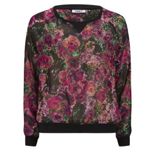 ONLY Women's Selma Floral Sweat Top - Phantom