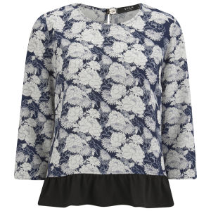 VILA Women's August Floral Top - Black Iris