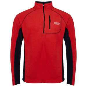 55 Soul Men's Maine Half Zip Fleece Sweatshirt - Red/Dark Navy