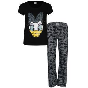 Daisy Women's Animal Print Pyjama Set - Charcoal & Black
