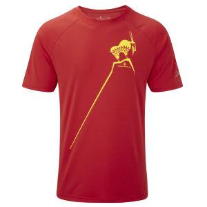RonHill Men's Trail Mountain Goat T-Shirt - Cardinal Red/Solar