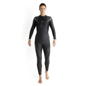 Speedo Women's Thin Comp Full Suit - Black/Pink/Blue