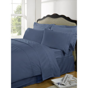 Highams 100% Egyptian Cotton Plain Dyed Duvet Cover and Pillowcases - Steel Blue