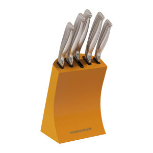 Morphy Richards Accents 5 Piece Knife Block Set - Orange