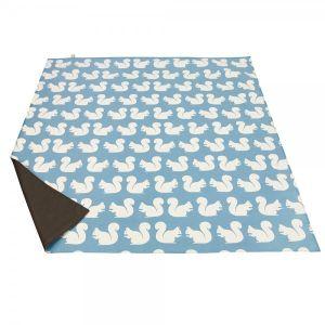 Anorak Kissing Squirrels Picnic Blanket - Teal/Blue/Cream